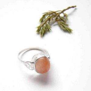 Orange Carnelian Celtic Knot Ring: A Celtic style ring in sterling silver and natural British gemstone.