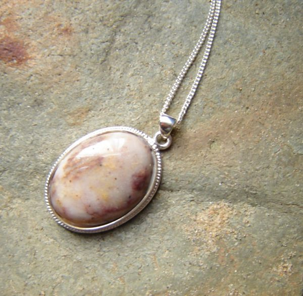 Natural Pink, Ochre & White Speckled Quartz Necklace. English Quartz Cabochon Necklace in natural quartz hand-collected, shaped and finished in the North East of England