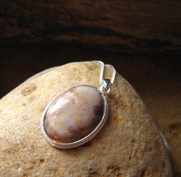 Natural Pink, Ochre & White Speckled Quartz Necklace. British Quartz Cabochon Necklace in natural quartz hand-collected, shaped and finished in the North East of England