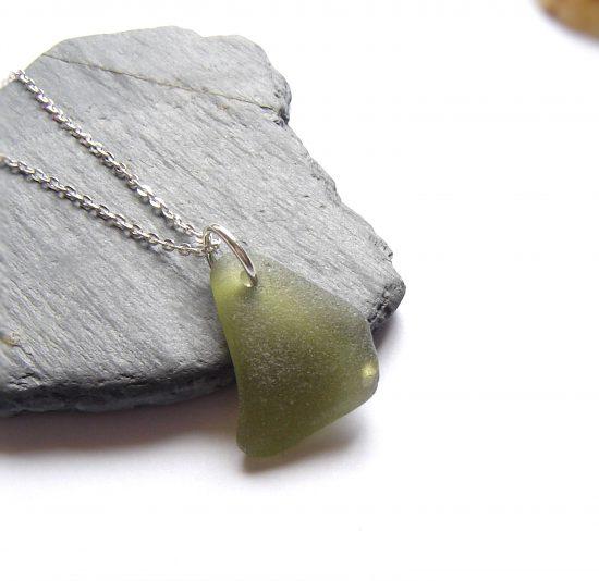 Olive Green Northumberland Sea Glass Pendant