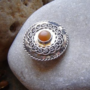 Round Celtic Sterling Silver Brooch hand made with natural British carnelian which has been collected by hand on the North East coast of England.