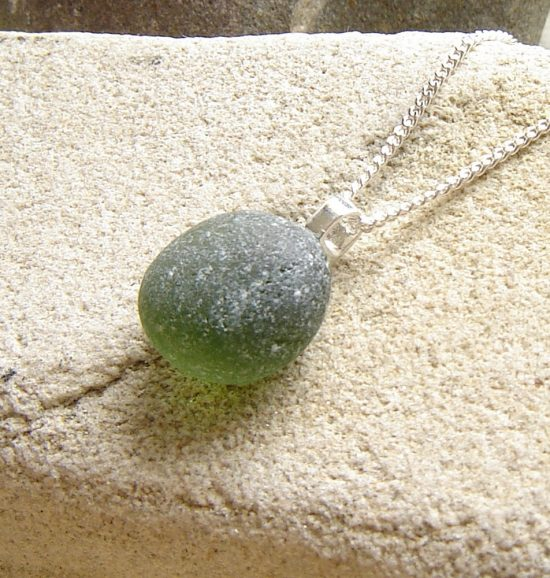 Rounded Green Frosted Sea Glass Necklace. English Sea Glass Pendant Necklace made in green frosted sea glass hand-collected on the Northumbrian coast of England. English sea glass jewellery from Northumbria Gems.