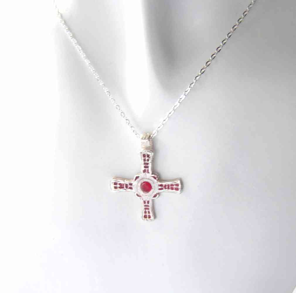 silver inch necklace sterling simple product purity cross with chain