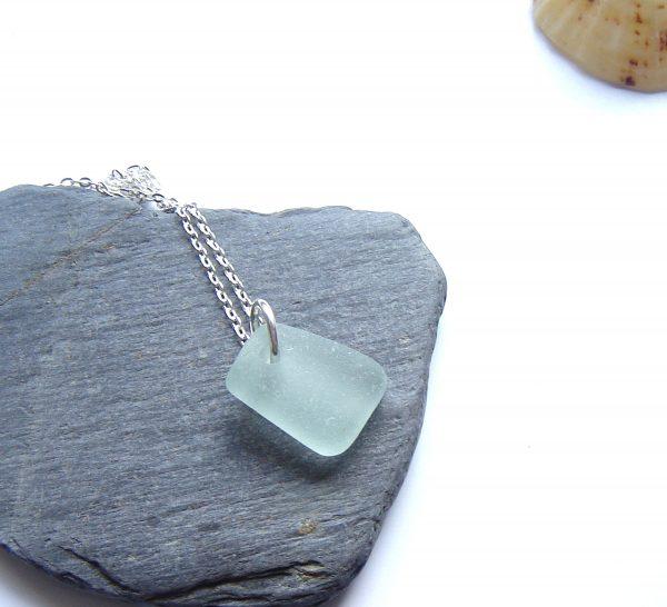 Seafoam White Geometric Sea Glass Pendant