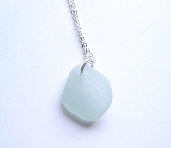 Seafoam White Sea Glass Pendant