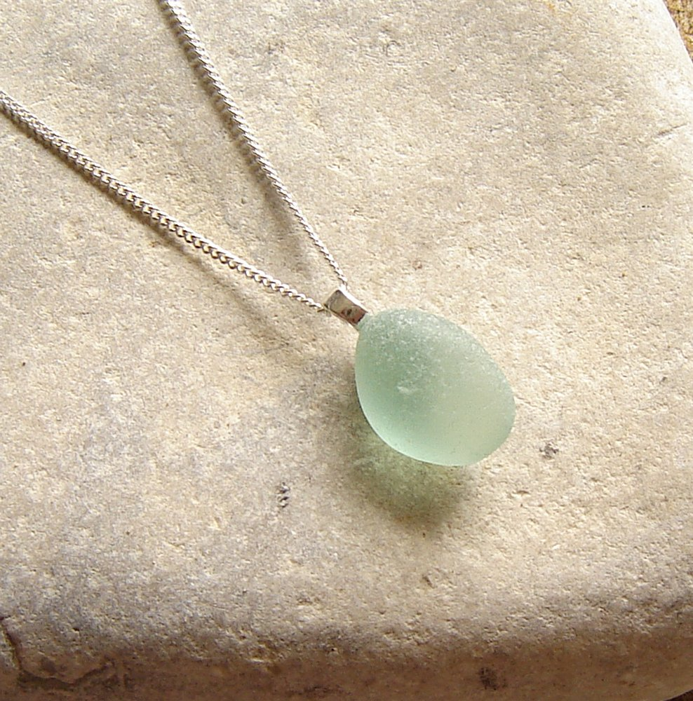 Aqua green blue sea glass pendant northumbria gems aqua green blue sea glass pendant aloadofball Choice Image