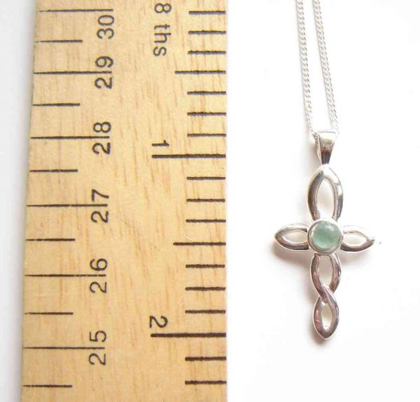 Small Celtic Cross Natural Green Apatite Necklace. Small silver Celtic twist style cross, with apatite cabochon
