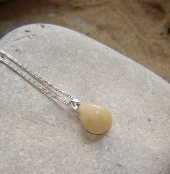 Small Cream Natural Quartz Necklace in quartz from the Northumbrian coast of England