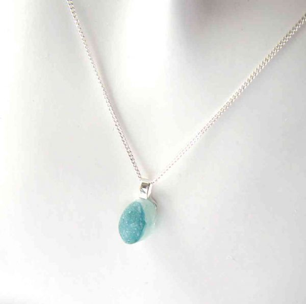 Small Teal Blue Multi Sea Glass Necklace, in rare teal multi English sea glass hand-collected on Seaham beach, County Durham, on the North East coast of England