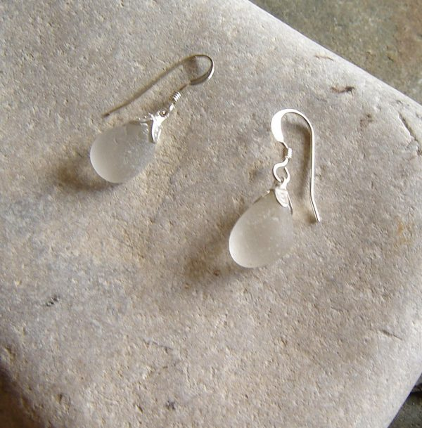 Small White Frosted Sea Glass Earrings. English Sea Glass Earrings, sterling silver, in small pieces of white sea glass from the North East coast of England
