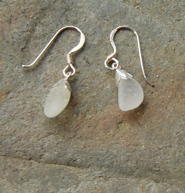 Frosted White Northumbrian Sea Glass Earrings in sterling silver