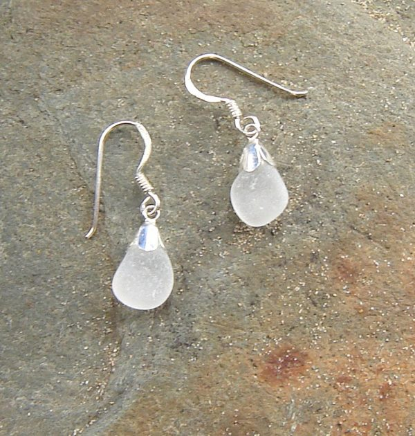Small Blue White Sea Glass Earrings. Frosted White English Northumbrian Sea Glass Drop Earrings with sterling silver petal bell caps