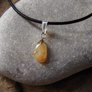 Small Natural Citrine Quartz Choker Necklace. Small White and Ochre British Quartz Choker Necklace in semi-translucent quartz from the Northumbria region of England.