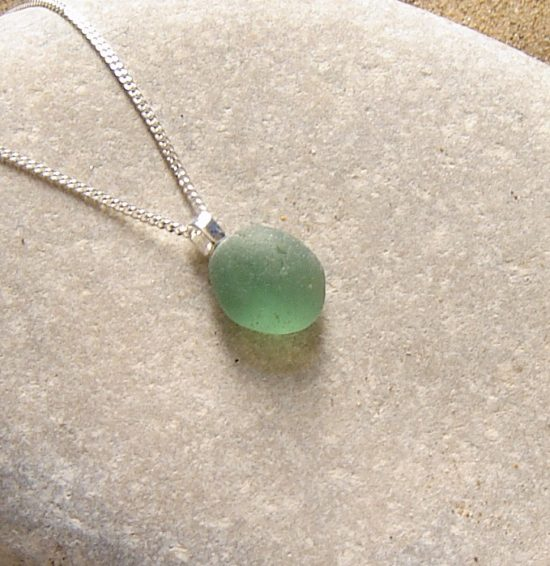Blue Green Frosted Sea Glass Necklace. Small English Sea Glass Pendant Necklace in sea glass hand -collected on the Northumbrian coast of England, set in sterling silver