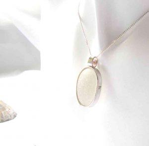 White English Sea Glass Bezel Pendant: a unique, hand-crafted white Northumbrian sea glass pendant, in a silverwork setting.