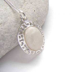 White Natural Quartz Oval Necklace. British Quartz Gemstone Necklace in a sterling silver filigree mount.