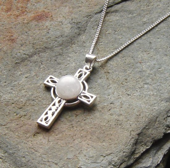Natural White Quartz Celtic Cross Necklace. Celtic Cross Necklace in White British Quartz which has been hand collected on the Northumbrian coast. The quartz has been hand cut and finished here in the North East of England