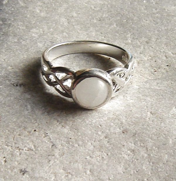 Celtic Knot Ring in White English Quartz which has been hand-collected on Northumbria's coastline, England