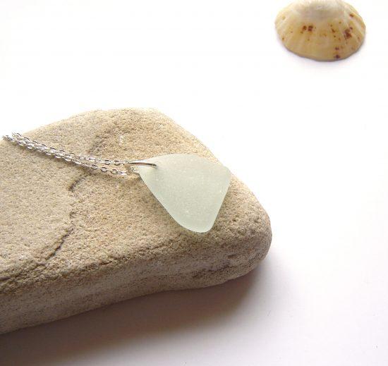 White Sea Glass Triangle Pendant